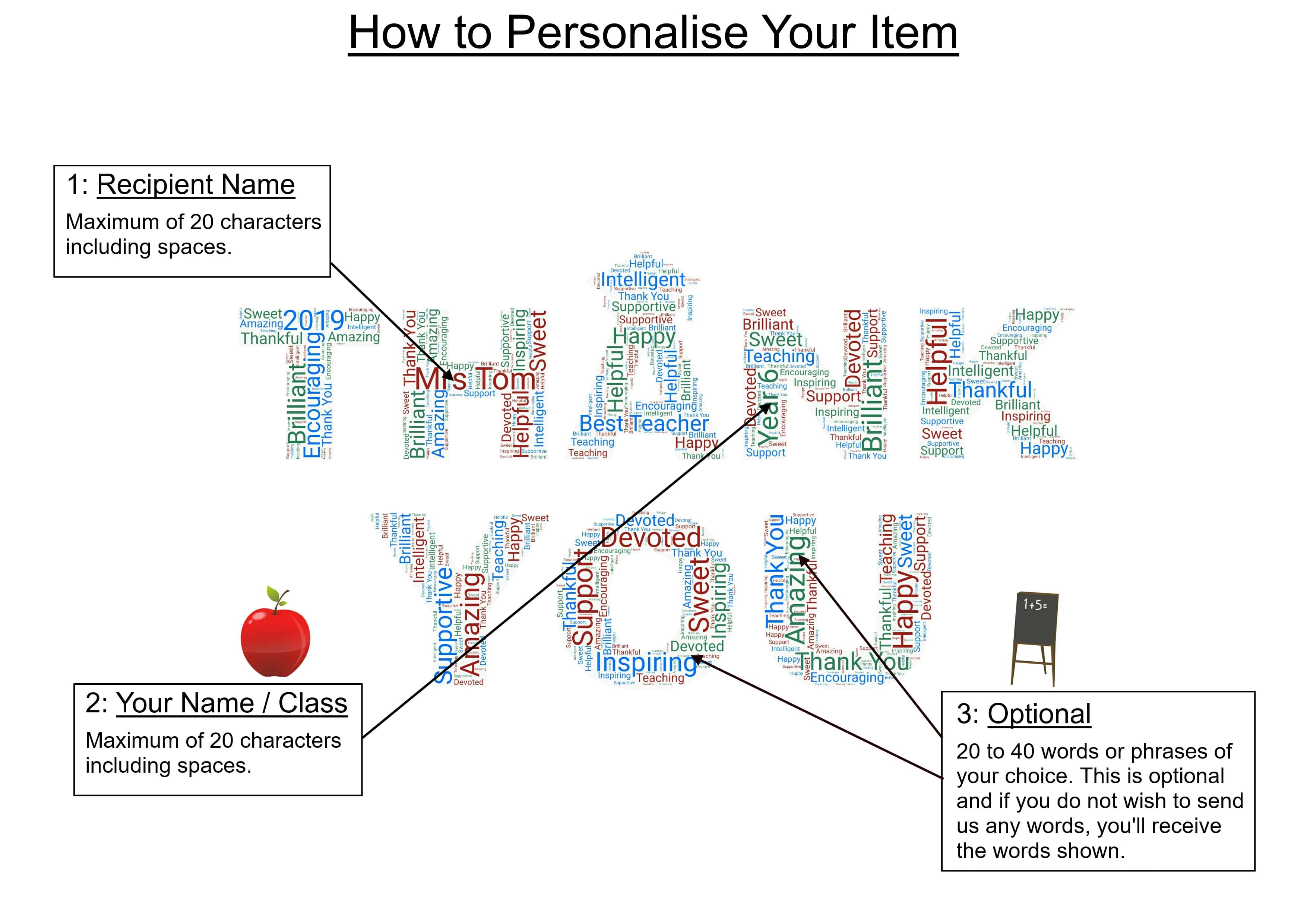 A4 PERSONALISED THANK YOU SCHOOL TEACHER WORD ART PRINT