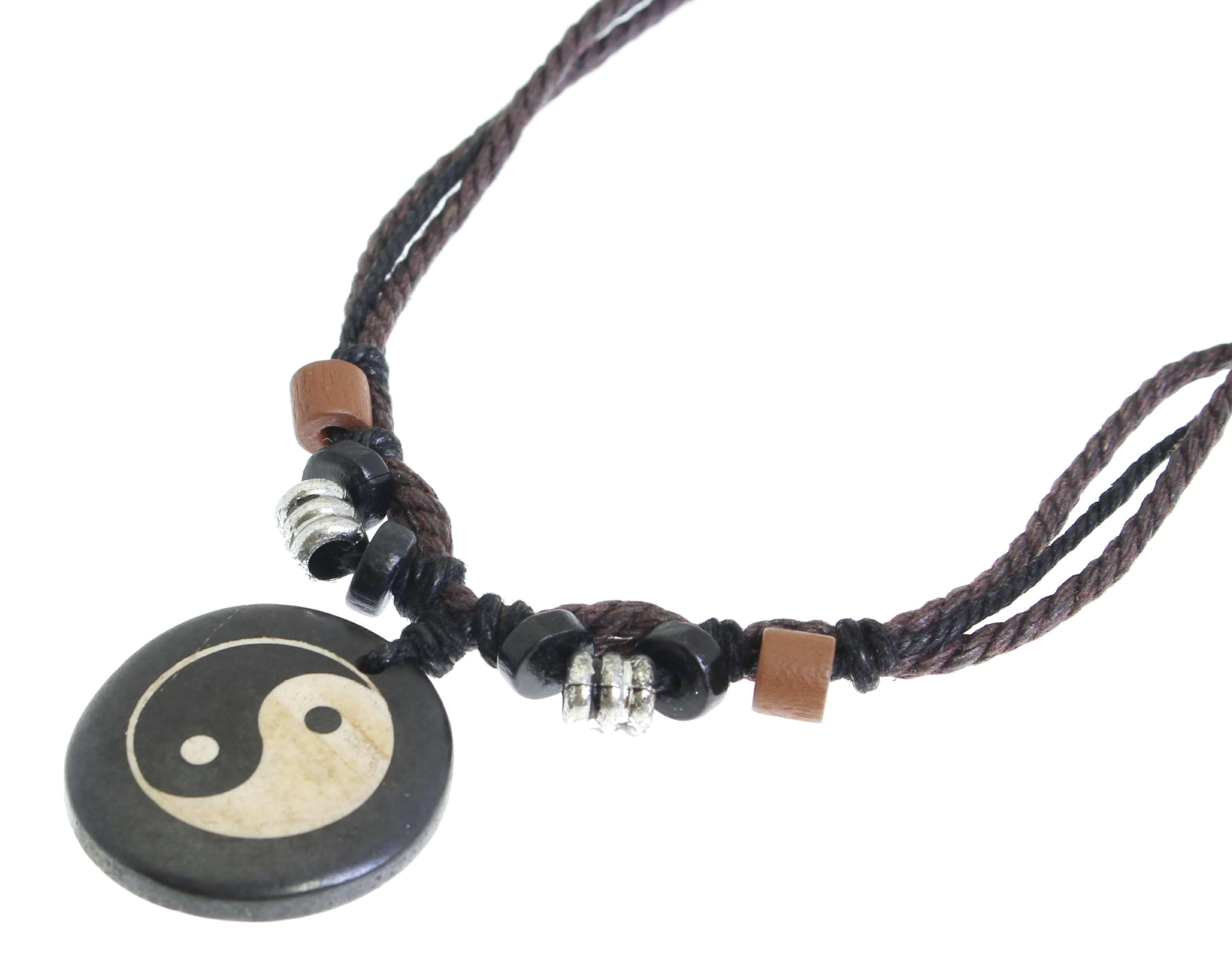 1ab6ed00c12e Detalles de Yin Yang Collar Colgante con Cadena Cordón Negro Marrón nudos  Ajustable Deslizante- ver título original