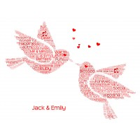 Personalised Bird Word Art Print For Couple Anniversary Gift