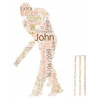 Personalised Word Art Print Cricket Player With Bat & Ball Gift