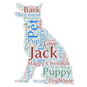 Personalised Pet Dog Word Art Print Gift for Puppy Lovers