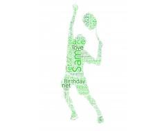 Personalised Word Art Print Men Tennis Player Rackets Christmas or Birthday Gift