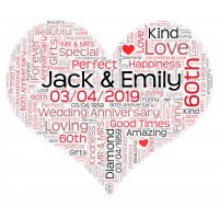 Personalised Word Art Heart Print for Wedding Anniversary Birthday Gift