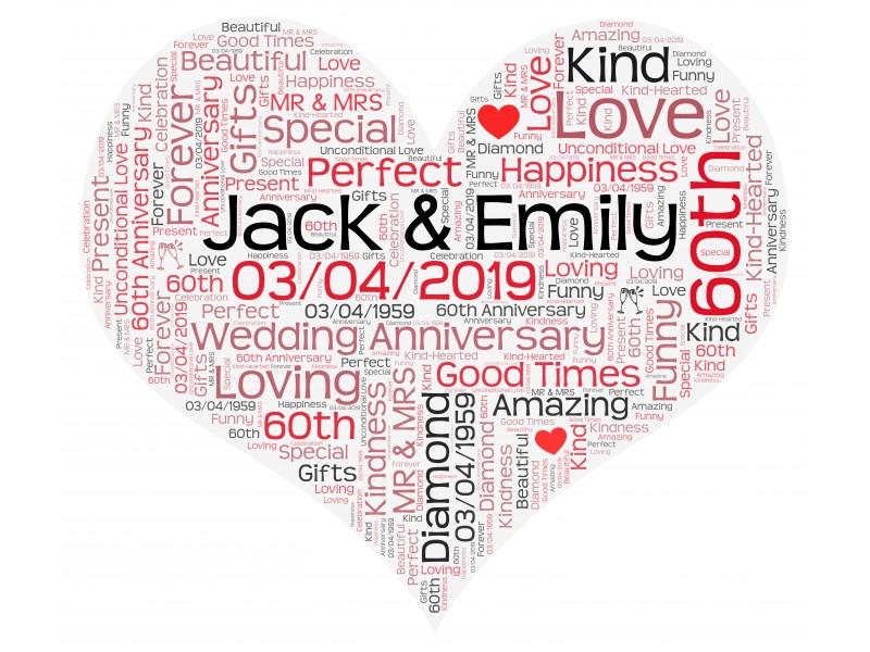 Personalised Word Art Heart Print for Wedding Anniversary Birthday Gift