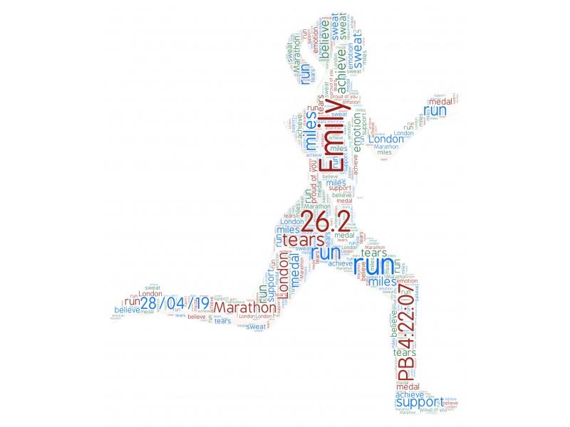 Personalised Word Art Print Gift London, Shakespeare, Beachy Head, White Peak, Snowdonia Marathon Women Running Birthday Mothers day Present