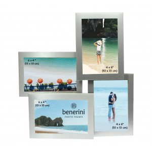 Silver Colour 4 Photo Multi Aperture Photo Frame Gift Present  - 0054