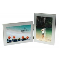 Silver Colour Twin 2 Picture Double Folding Photo Frame Gift Present  - 0055