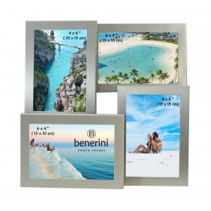 Silver Colour 4 Photo Multi Aperture Photo Frame Gift Present  - 0056
