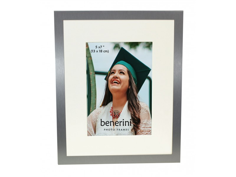 5 x 7 inches Plain Silver Colour Aluminium Photo Frame Gift Present With Mount - 088