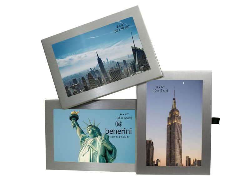 3 Photo Aluminium  Silver Colour Multi Aperture Picture Frame Gift Present - 094