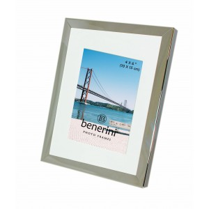 Iron Nickel Plated Shiny Dark Silver Colour Photo Frame With Removable Mount - 095
