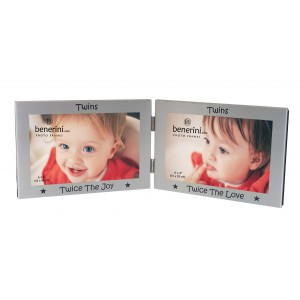 "Twins Photo Frame 2 Picture Twin Double Folding 6 x 4"" Baby Gift Idea"
