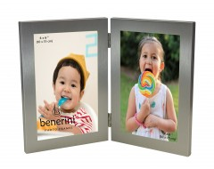 Silver Colour Twin 2 Picture Vertical Double Folding Photo Frame - 123