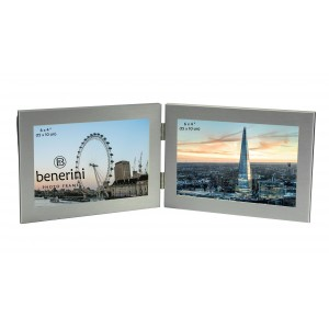 Silver Colour Twin 2 Picture Horizontal Double Folding Photo Frame - 124