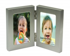 Silver Colour MINIATURE Twin 2 Picture Vertical Double Folding Photo Frame - 125