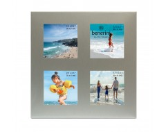 4 Picture Brushed Aluminium Satin Silver Colour Photo Frame - 126