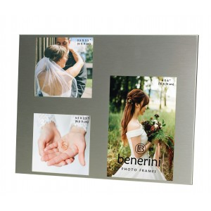 3 Picture Brushed Aluminium Satin Silver Colour Photo Frame - 127
