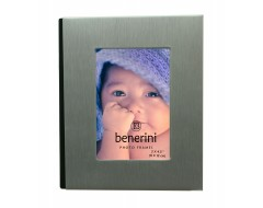 Brushed Aluminium Satin Silver Colour Front - Free Standing Photo Album - Holds 48 photos