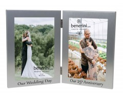 25th Silver Wedding Anniversary Double Photo Frame - 'Our Wedding Day' & 'Our 25th Anniversary' - 4x6 inches