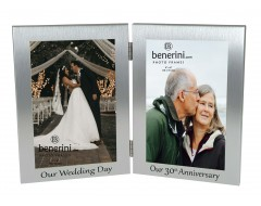 30th Pearl Wedding Anniversary Double Photo Frame - 'Our Wedding Day' & 'Our 30th Anniversary' - 4x6 inches