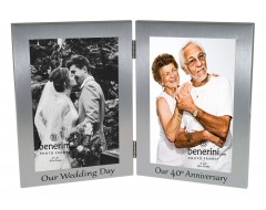 40th Ruby Wedding Anniversary Double Photo Frame - 'Our Wedding Day' & 'Our 40th Anniversary' - 4x6 inches