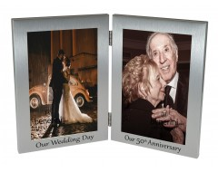 50th Golden Wedding Anniversary Double Photo Frame - 'Our Wedding Day' & 'Our 50th Anniversary' - 4x6 inches