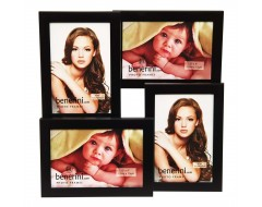 Black Aluminium 4 Picture Multi Aperture Photo Frame Gift - Holds 4 photographs