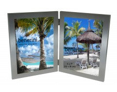 2 Picture 5 x 7 inches Brushed Aluminium Silver Colour Vertical Double Folding Photo Frame Gift