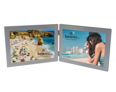2 Picture - 7 x 5 inches Brushed Aluminium Silver Colour Horizontal Double Folding Photo Frame Gift - Takes 2 Photos of 7 x 5 inches (18 x 13 cm) - Landscape Style