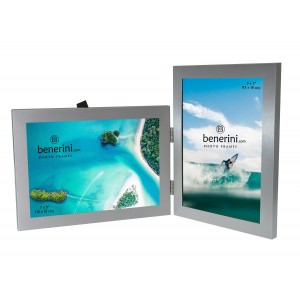2 Picture - 5 x 7 inches Brushed Aluminium Silver Colour Double Folding Photo Frame Gift - Takes 2 Standard 5 x 7 inch photographs - 1 Landscape and 1 Portrait Style