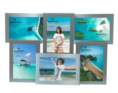 6 Picture - 4 x 6 inches Brushed Aluminium Satin Silver Colour Multi Aperture Photo Frame Gift - Takes 6 Photos of 4 x 6 inches (10 x 15 cm)