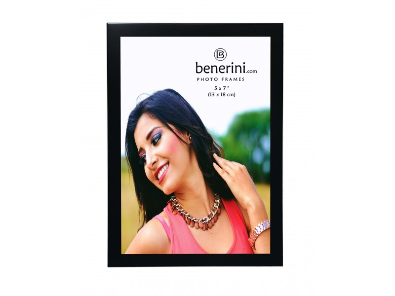 "5 x 7 "" Satin Black Colour Brushed Aluminium Photo Picture Frame Gift - Portrait or Landscape"