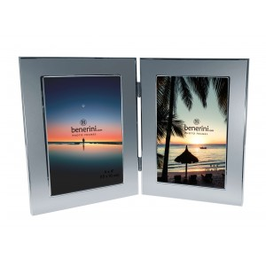 2 Picture - 4 x 6 inches Brushed Two Tone Aluminium Silver Colour Vertical Double Folding Photo Frame Gift - Takes 2 Photos of 4 x 6 inches (10 x 15 cm) - Portrait Style