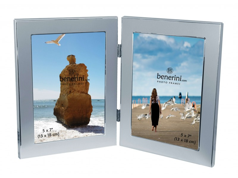 2 Picture - 5 x 7 inches Brushed Two Ttone Aluminium Silver Colour Vertical Double Folding Photo Frame Gift - Takes 2 Photos of 5 x 7 inches (13 x 18 cm) - Portrait Style