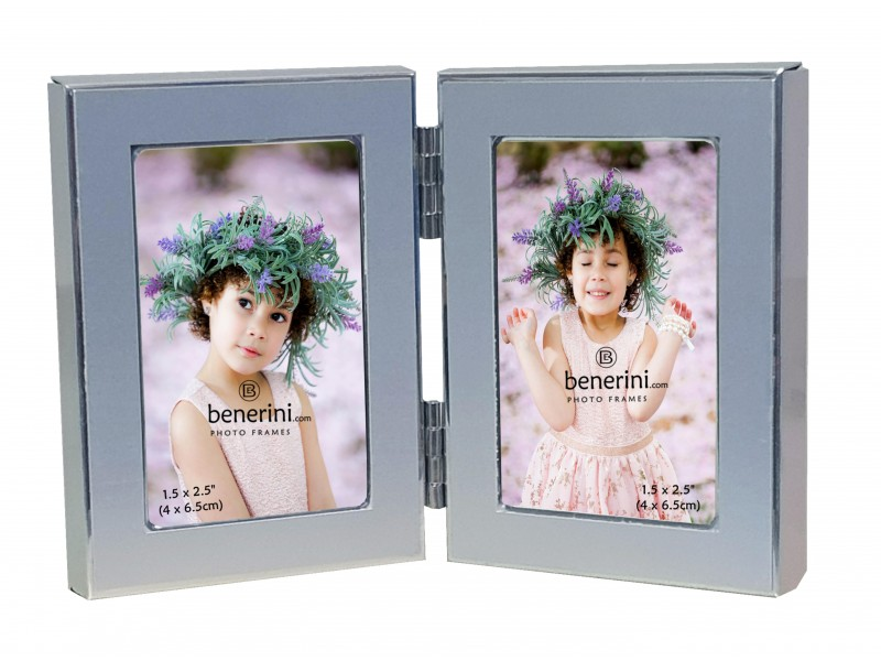 2 Picture - 1.5 x 2.5 inches Brushed Two Ttone Aluminium Silver Colour MINIATURE Vertical Double Folding Photo Frame Gift - Takes 2 Photos of 1.5 x 2.5 inches (4 x 6.5 cm) - Portrait Style