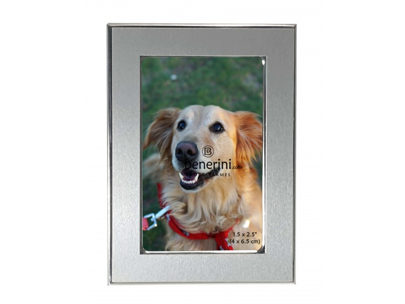1.5 x 2.5 inches Silver Colour Brushed & Shiny Aluminium Miniature Photo Picture Frame Gift - Portrait or Landscape