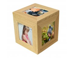 Natural Oak Wooden 5 Picture Photo Cube / Keepsake Box - 5 Pictures of 3 x 3 inches
