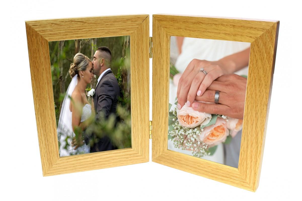 natural oak double wooden photo frame benerini. Black Bedroom Furniture Sets. Home Design Ideas
