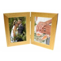 Natural Oak Wooden 2 Picture Double Photo Frame - Hold 2 Photos 4 x 6 inches