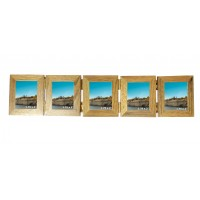 Wooden Oak 5 Picture Concertina Multi Aperture Mini Photo Frame  - 1.75 x 2 inches ( 4.5 x 5.5 cm)
