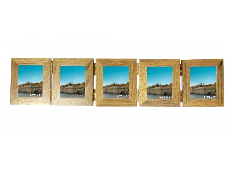 Wooden Oak 5 Picture Concertina Multi Aperture Mini Photo Frame  - 1.75 x 2 inches ( 4.5 x 5.5 cm)